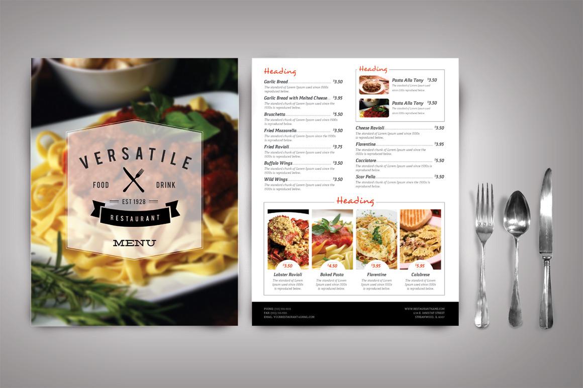 design jídelní lístek pro restaurace
