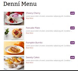 Web pro restaurace s elektronickým jídelním lístkem